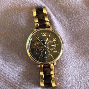 Fossil watch tortoise shell and gold